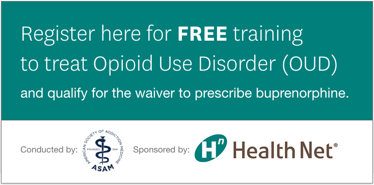 Register here for FREE training to treat Opioid Use Disorder (OUD) and qualify for the waiver to prescribe buprenorphine.